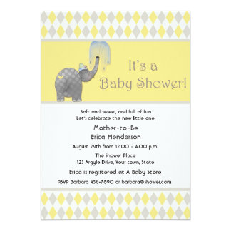Elephant, Argyle Baby Shower Card