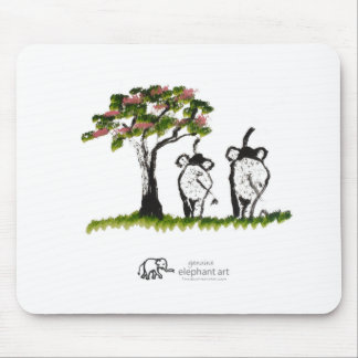 """Elephant Artwork """"Just The Two Of Us"""" Pink Mouse Pad"""