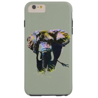 Elephant Artwork on Grey Background Tough iPhone 6 Plus Case