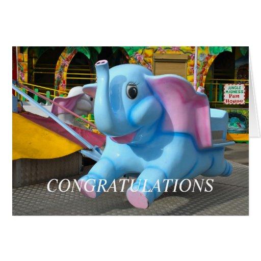Elephant at a Funfair Congratulations Card