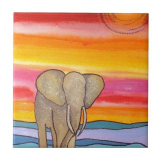 Elephant at Sunset in Africa (K. Turnbull Art) Ceramic Tile