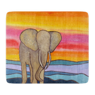Elephant at Sunset in Africa (K. Turnbull Art) Cutting Board