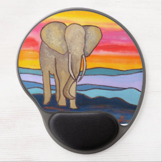Elephant at Sunset in Africa (K. Turnbull Art) Gel Mouse Pad