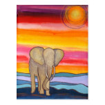 Elephant at Sunset in Africa (K. Turnbull Art) Postcard