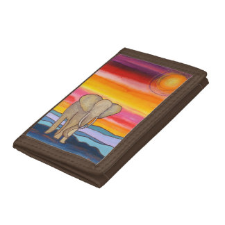 Elephant at Sunset in Africa (K. Turnbull Art) Trifold Wallets
