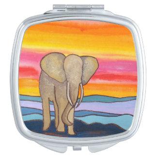 Elephant at Sunset in Africa (K. Turnbull Art) Vanity Mirror