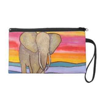 Elephant at Sunset in Africa (K. Turnbull Art) Wristlet Purse