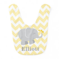 Elephant Baby Bib | Yellow and Gray