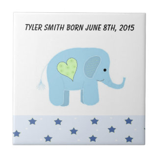 Elephant Baby Birth Date Small Square Tile