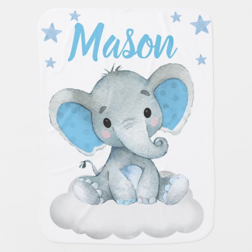 Elephant Baby Blankets Star Blue Name