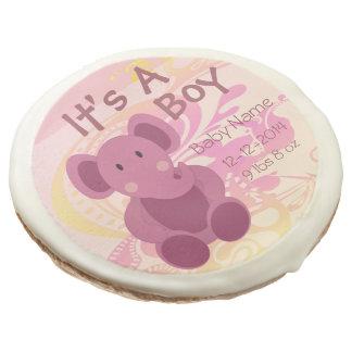 Elephant Baby Boy Announcement 3 - Sugar Cookie