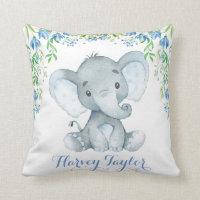 Elephant Baby Boy Nursery Pastel Blue Flowers Throw Pillow