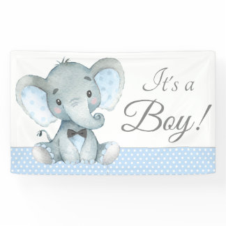Elephant Baby Boy Shower Banners
