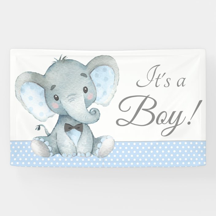 Elephant Baby Boy Shower Banners Zazzle Com