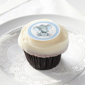 Elephant Baby Boy Shower Cupcake Topper Frosting