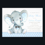 """Elephant Baby Boy Shower Invitations<br><div class=""""desc"""">Elephant baby boy shower invitations with adorable watercolor baby elephant wearing a black bow tie on a sweet baby blue polka dot background. These adorable baby boy elephant baby shower invitations are easily customized for your event by simply adding your details. You can also add a background color.</div>"""