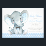 "Elephant Baby Boy Shower Invitations<br><div class=""desc"">Elephant baby boy shower invitations with adorable watercolor baby elephant wearing a black bow tie on a sweet baby blue polka dot background. These adorable baby boy elephant baby shower invitations are easily customized for your event by simply adding your details. You can also add a background color.</div>"