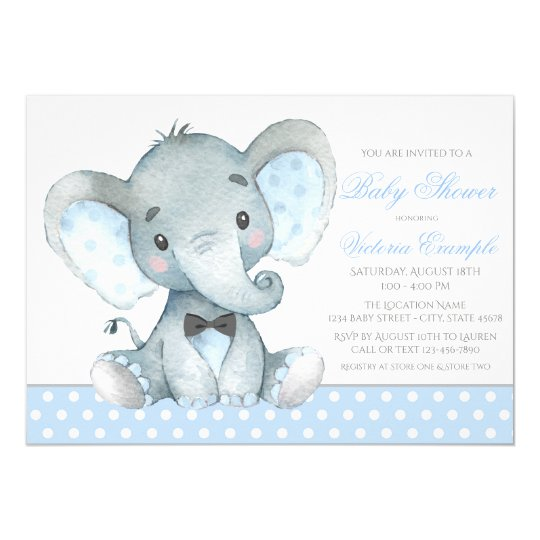 Elephant Baby Boy Shower Invitations Zazzlecom