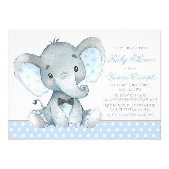 Elephant Baby Boy Shower Invitations