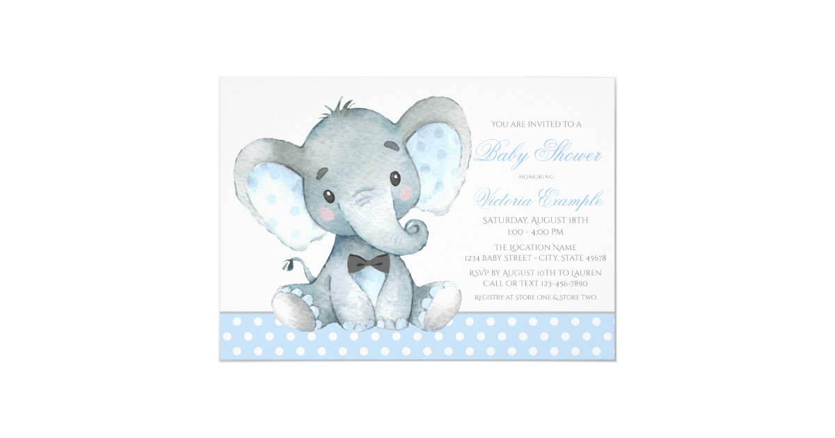 Elephant Baby Boy Shower Invitations | Zazzle.com