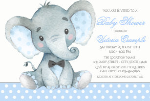 Baby elephant invitations zazzle elephant baby boy shower invitations filmwisefo