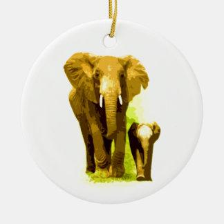 Elephant & Baby Elephant Ceramic Ornament