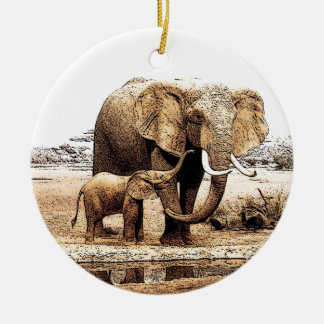 Elephant & Baby Elephant Christmas Ornament