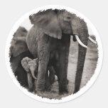 Elephant & Baby Elephant Classic Round Sticker