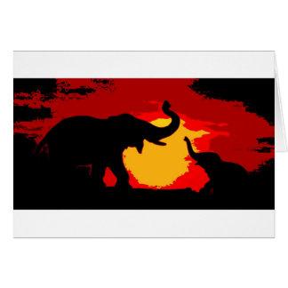 Elephant, Baby Elephant & Sunset Card