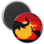 Elephant, Baby Elephant & Sunset 2 Inch Round Magnet