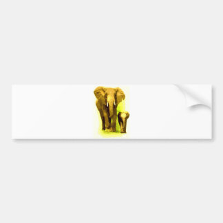 Elephant & Baby Elephant Walking Bumper Sticker