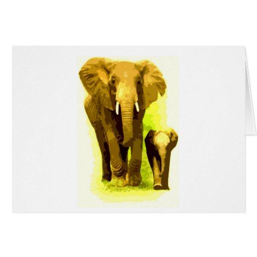Elephant & Baby Elephant Walking Greeting Card