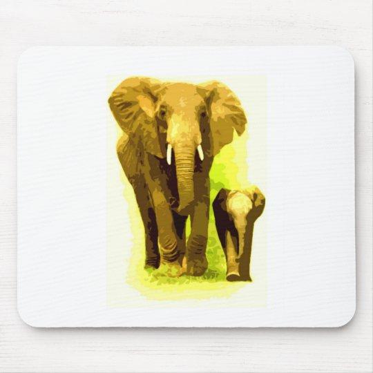 Elephant & Baby Elephant Walking Mouse Pad