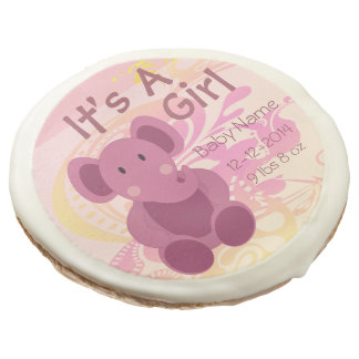 Elephant Baby Girl Announcement 3 - Sugar Cookie