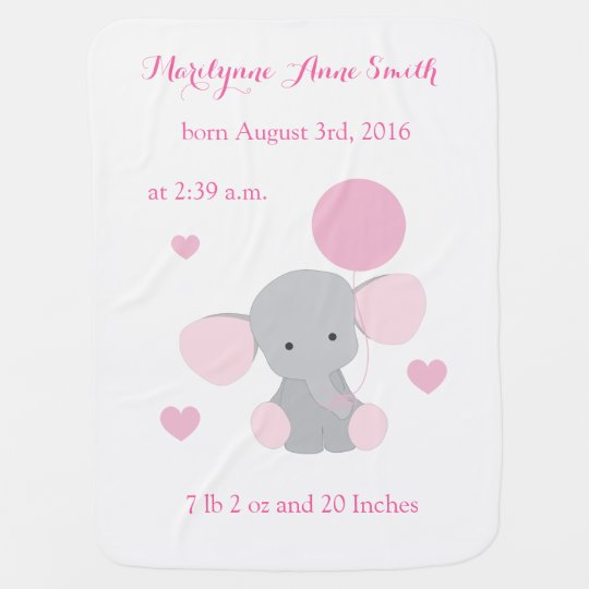 Elephant Baby Girl Birth Stats Pink Gray Chevron Swaddle