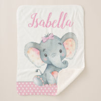Elephant Baby Girl Blanket