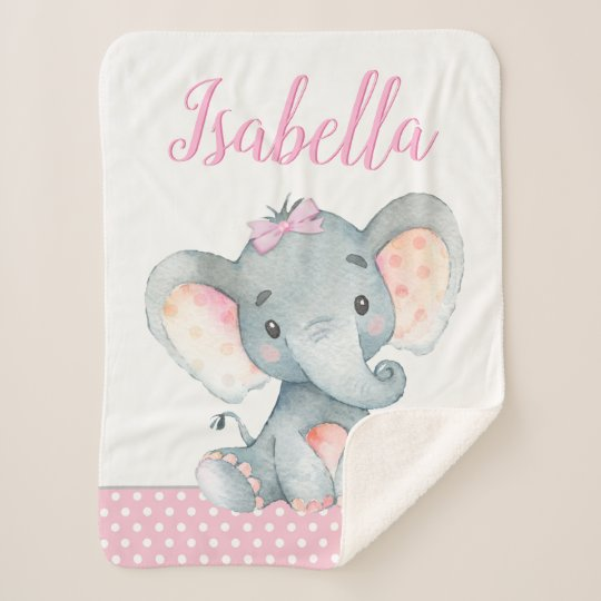 Elephant Baby Girl Blanket Zazzle Com