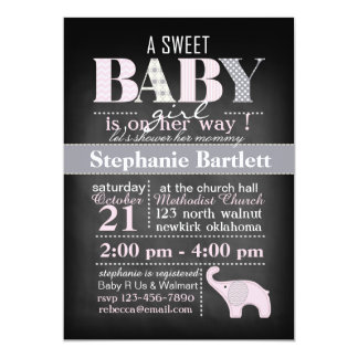 Elephant Baby Girl Chalkboard Shower Invitation