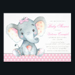 "Elephant Baby Girl Shower Invitations<br><div class=""desc"">Elephant baby girl shower invitations with adorable watercolor baby elephant wearing a pink bow on a sweet pink polka dot background. These adorable baby girl elephant baby shower invitations are easily customized for your event by simply adding your details. You can also add a background color.</div>"