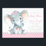 """Elephant Baby Girl Shower Invitations<br><div class=""""desc"""">Elephant baby girl shower invitations with adorable watercolor baby elephant wearing a pink bow on a sweet pink polka dot background. These adorable baby girl elephant baby shower invitations are easily customized for your event by simply adding your details. You can also add a background color.</div>"""