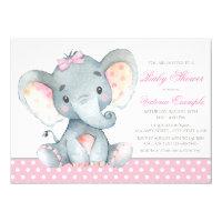 Pink elephant invitations zazzle elephant baby girl shower invitations filmwisefo