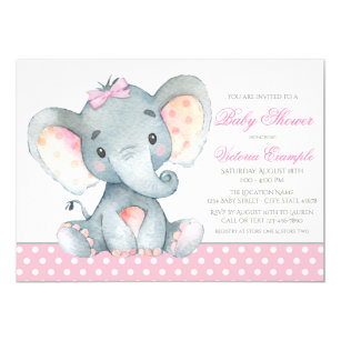 Pink elephant baby shower invitations zazzle elephant baby girl shower invitations filmwisefo