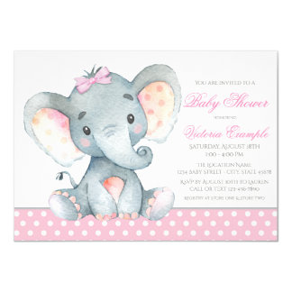 Elephant Baby Girl Shower Invitations