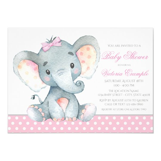 Elephant baby girl shower invitations zazzle elephant baby girl shower invitations filmwisefo