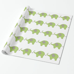 Green Baby Elephant Wrapping Paper Zazzle