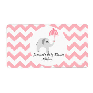 Elephant Baby Pink Umbrella Water Bottle Labels