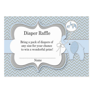 Elephant Baby Raffle Chevron Print Large Business Card