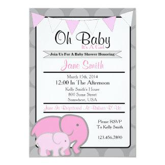Elephant Baby Shower 5x7 Paper Invitation Card