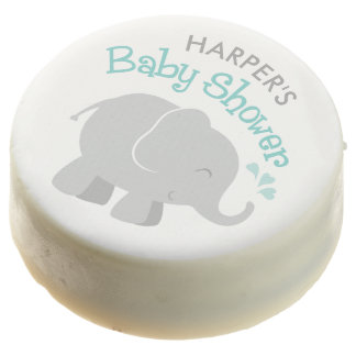 Elephant Baby Shower | Aqua and Gray Chocolate Covered Oreo