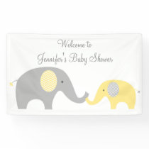 Elephant Baby Shower Banner Yellow & Grey